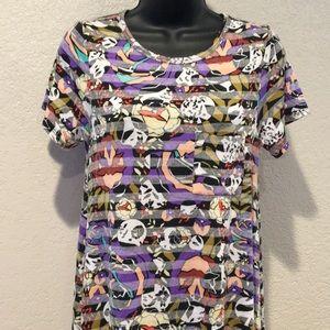 LulaRoe Carly Dress Shadow Striped Floral XXS